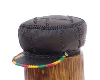 Black Rasta Leather Cap, Jamaican Rasta Leather Crown, Leather Rastafarian Hat, Black Rasta Tam, Hats for Dreadlocks | Rim 60 cm (item 500)