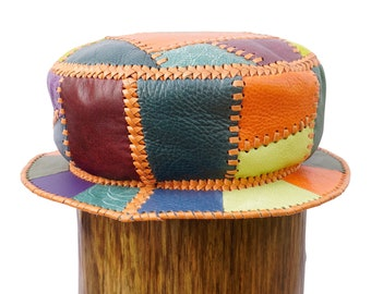 Handmade Leather Bucket Hat, Kangol Style Rasta Leather Hat, Colourful Leather Top Hat, Unisex Sun Hat, Circumference 60 cm (item 493)