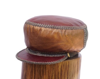 Cap for Locs, Handmade Leather Hat for Natty Dreads, Leather Rasta Tam, Beautiful Cap for Rasta Locs | Rim fitted to 57 cm (item 502)