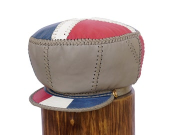 Red White Blue Fitted Hat for Locs, Independence Themed Leather Hat, Handmade Leather Cap, XL Leather Rasta Tam for Dreadlocks (item 498XL)