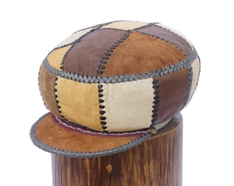 Leather Cap for Locs, Rasta Leather Tam, Handmade Leather Hat, Designer Leather Dreadlocs Hat   Rim fitted to 57 cm or 22 inches (item 261)