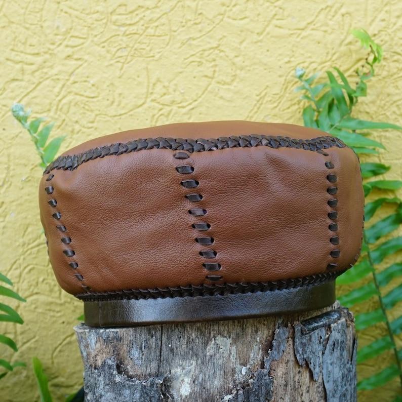 Brown Rasta Leather Crown  Handmade in Jamaica by Georgie and image 0