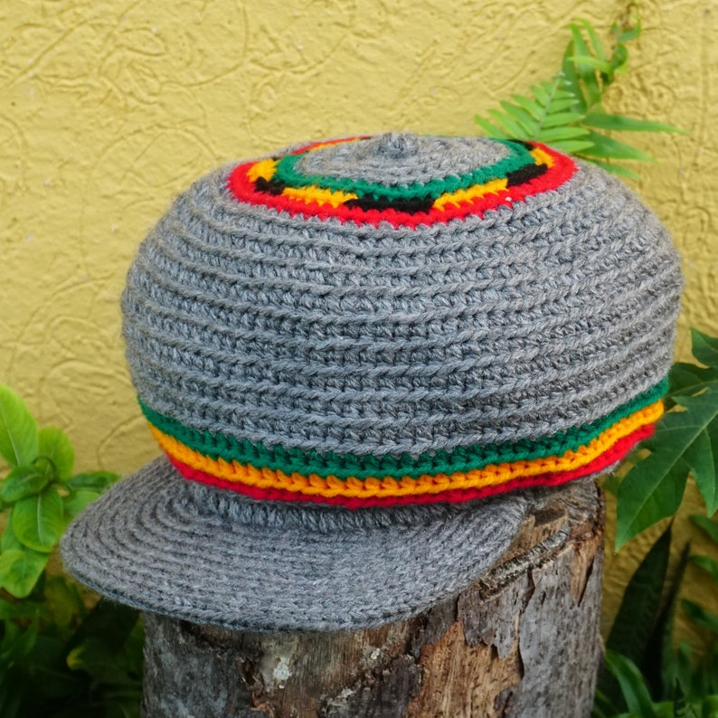 LARGE Adjustable Rasta Wool Tam  Belt / Hand Made Rasta Hat Only