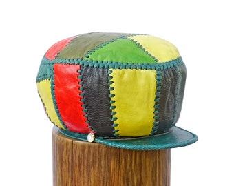 Rasta Leather Hat, Flabba Holt Leather Hat, Rasta Locs Cap, Rasta Dreadlocks Tam, Dreadlock Accessory -  Rim fitted to 58 cm (item 492)
