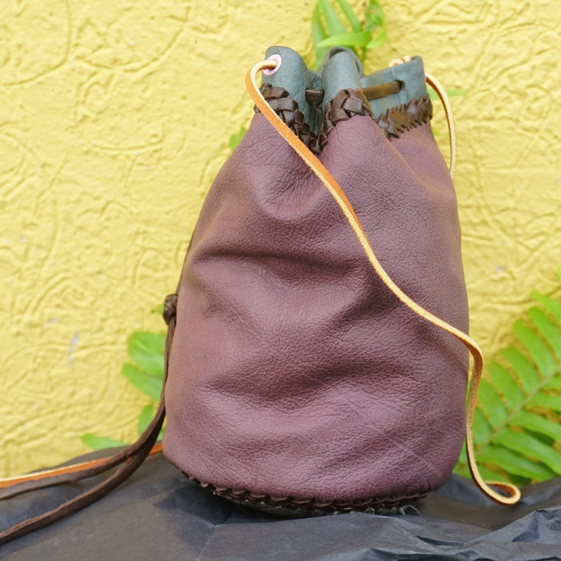 Leather Pouch Crossbody Drawstring Bag Small Stylish Hand image 0