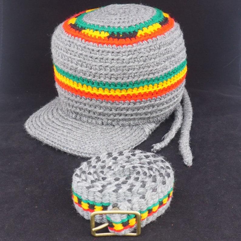 Adjustable Rasta Wool Tam  Belt / Hand Made Rasta Banner Hat image 0
