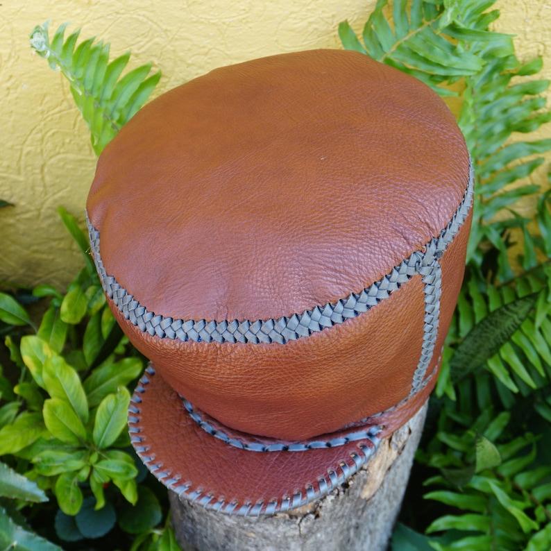 Large Rasta Leather Hat  Handmade in Jamaica  fits head rim image 0