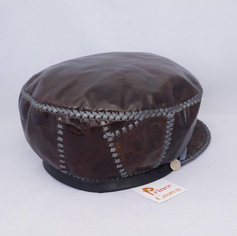 Brown Rasta Leather Hat Protoje Leather Hat Rasta Cap Rasta image 0