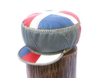 Red White Blue Fitted Cap for Locs, Independence Themed Leather Hat, Handmade Leather Tam, Red White Blue Leather Crown (item 472L)