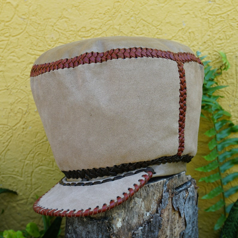 Large Rasta Leather Hat  Handmade in Jamaica  Rim fits head image 0