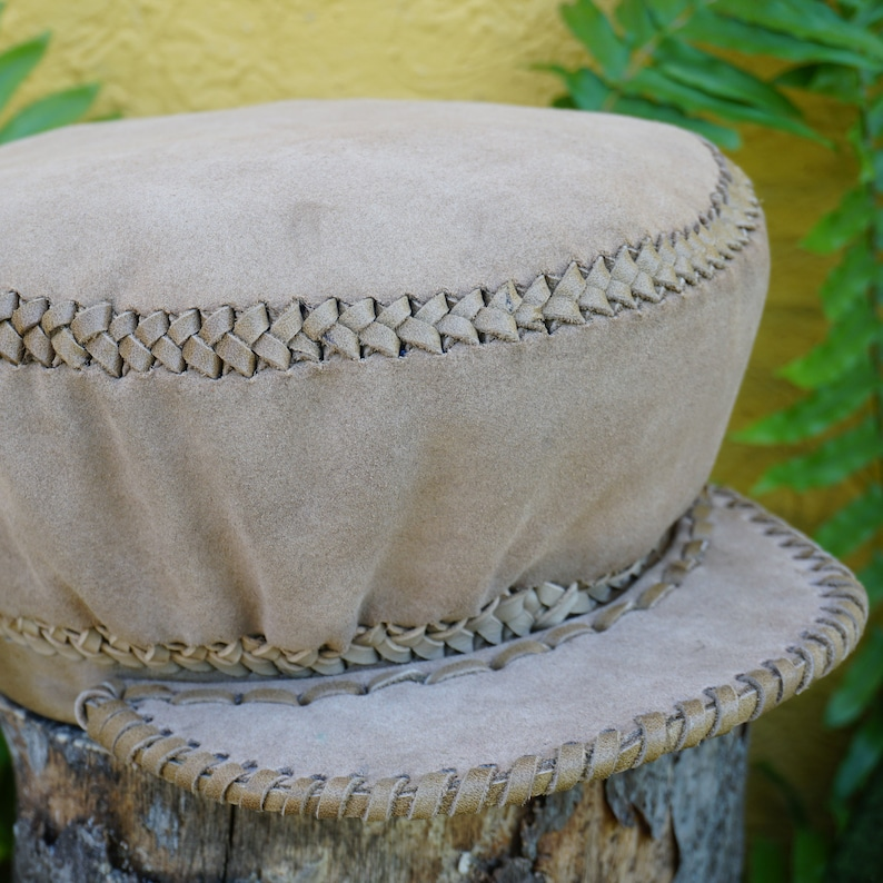 Small Rasta Leather Hat  Handmade in Jamaica  Rim fits head image 0