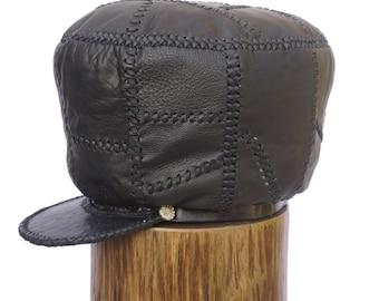 Jamaican Rasta Leather Crown, XXL All Black Rasta Leather Cap, Black Leather Hat, Rastafarian Tam, Hats for Locs | Rim 62 cm (item 499)