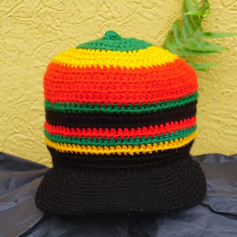 Rasta Wool Tam with Adjustable Rim / Hand Made Rasta Banner image 0