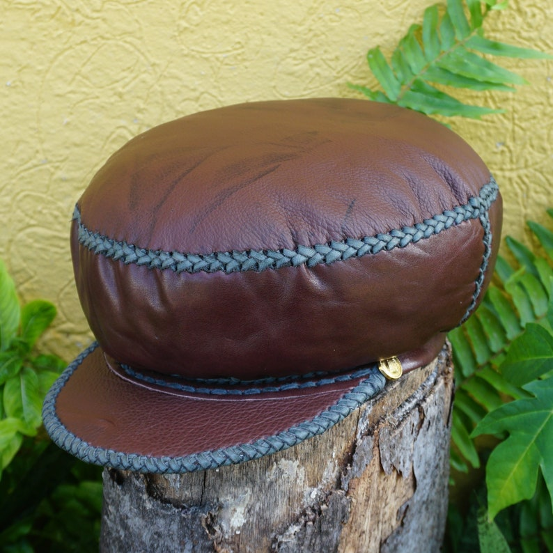Rasta Leather Hat Protoje Leather Crown Rasta Beret from image 0