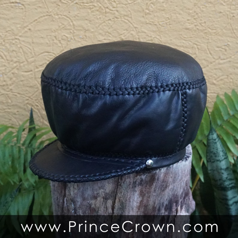 Classic Medium All Black Rasta Leather Crown  Rim fitted to image 0