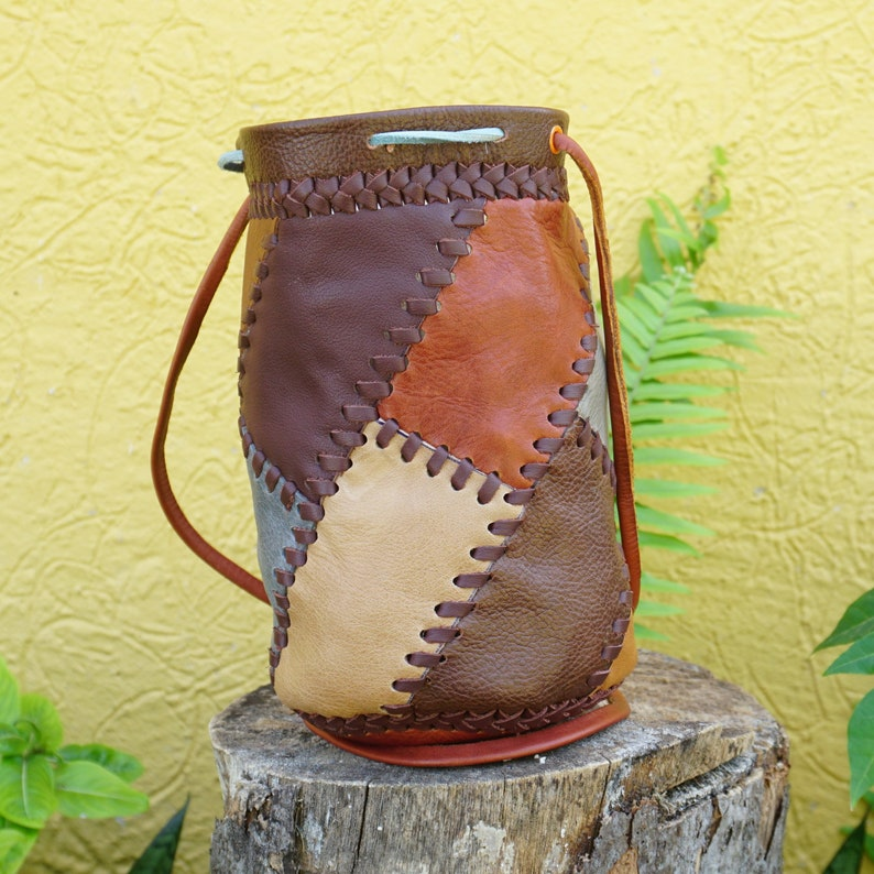 Leather Pouch Crossbody Drawstring Bag Stylish Hand Made image 0