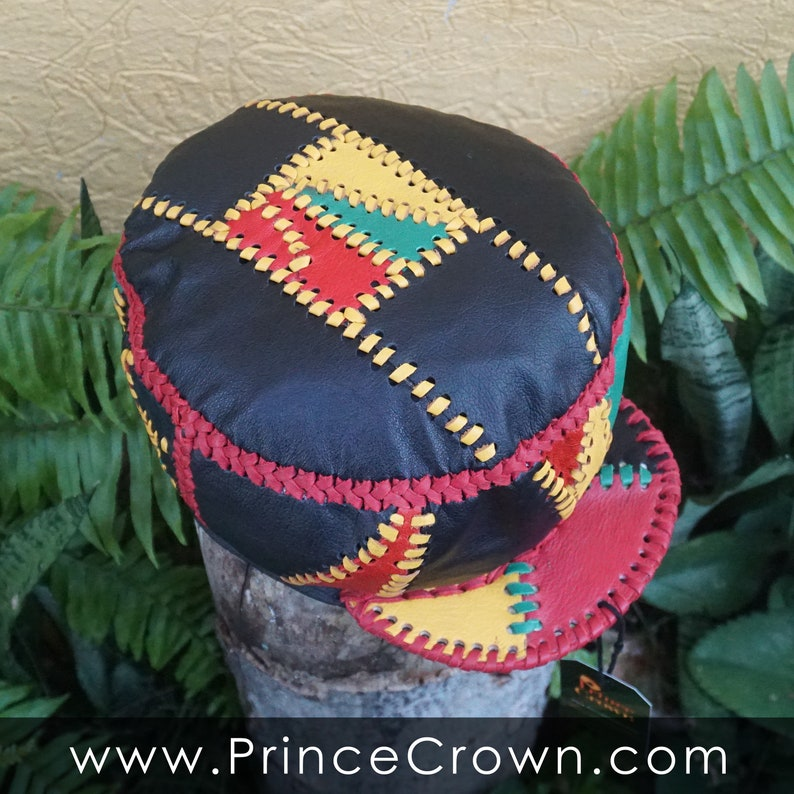 Red Gold Green Handmade Rasta Leather Hat made from Genuine image 0