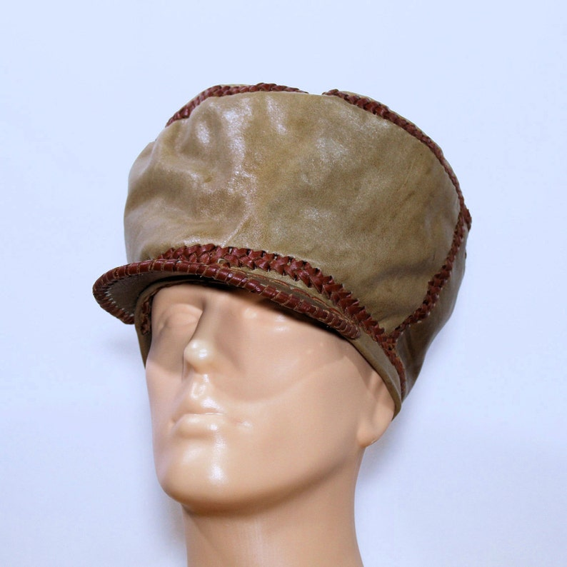 Large Leather Tam / Designer Rasta Leather Hat / Hand Crafted image 0