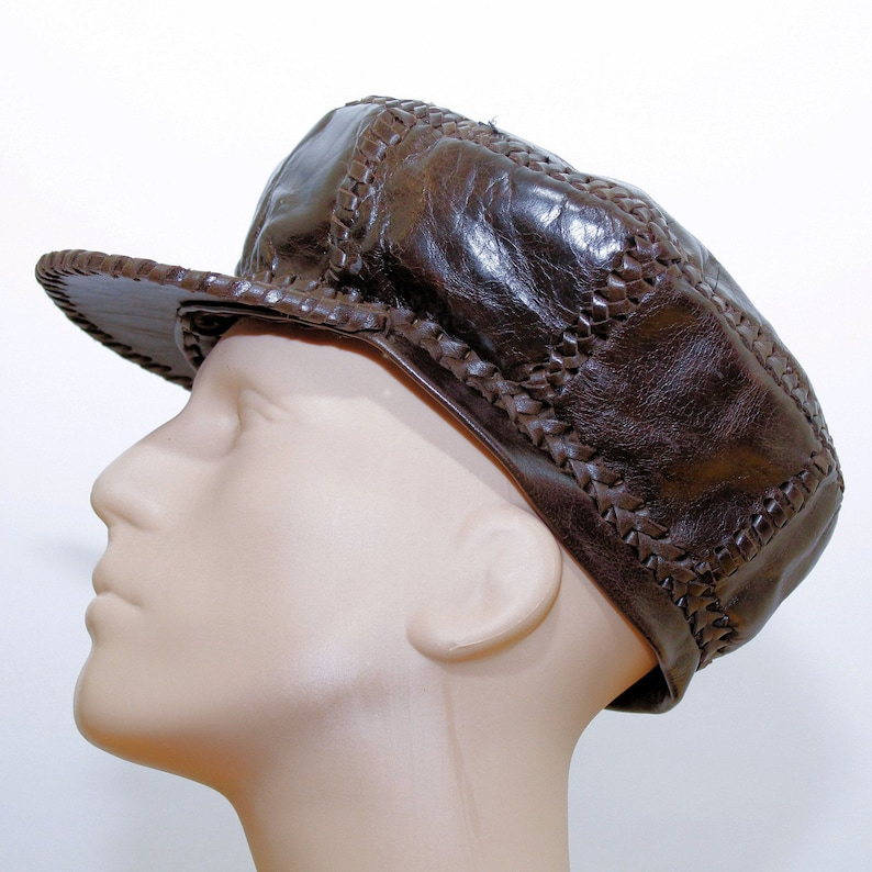 Rasta Leather Hat / Hand Crafted Rasta Hat made from Genuine image 0