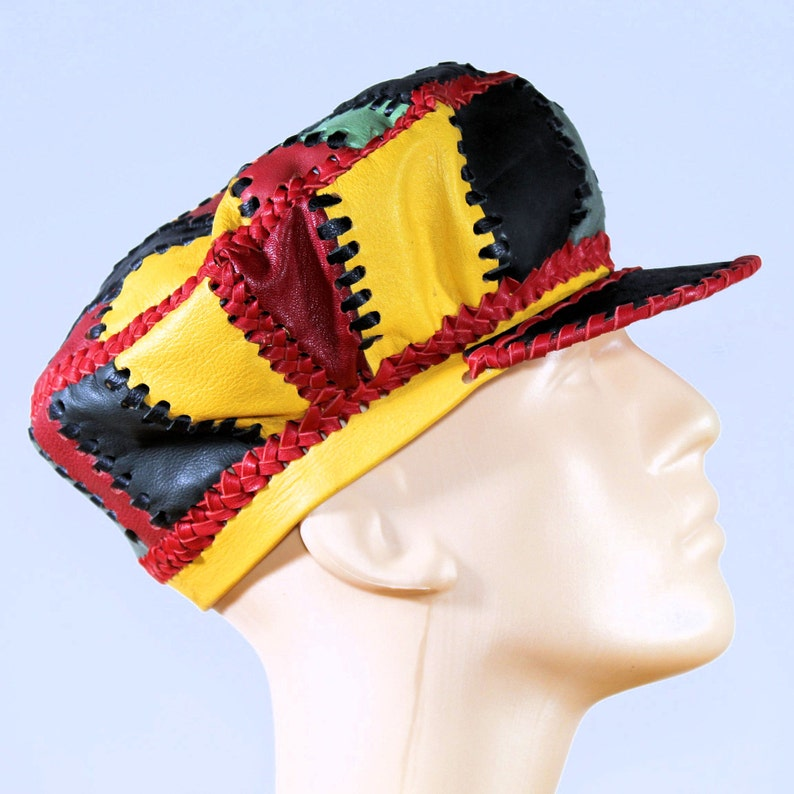 Rasta Leather Tam / Hand Crafted Rasta Hat made from Genuine image 0