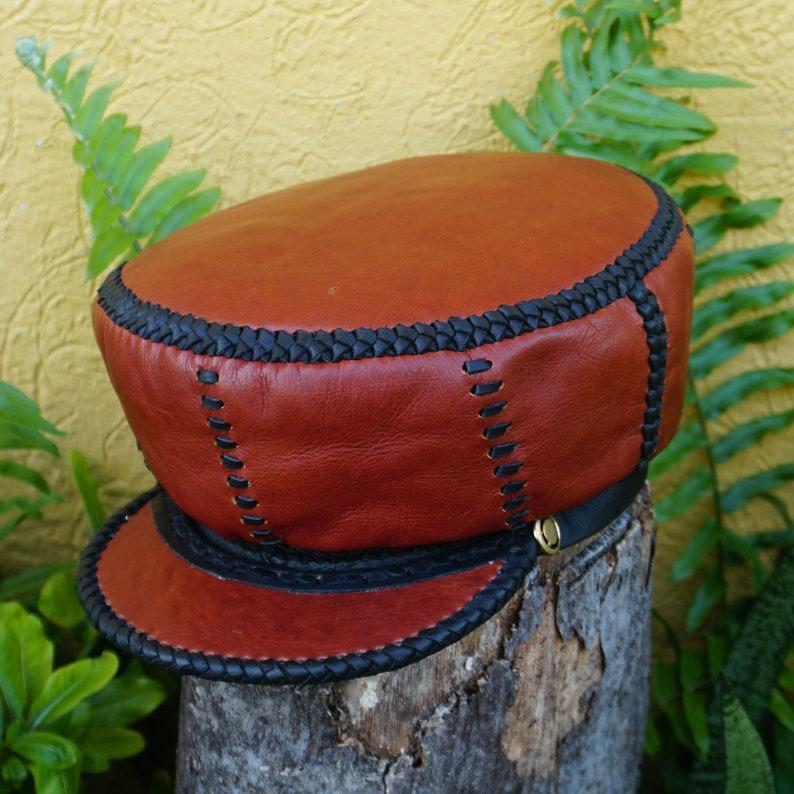 Rich Brown Rasta Leather Crown  Handmade in Jamaica worn by image 0