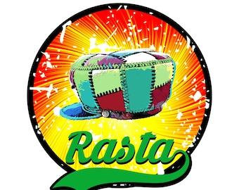 Digital Rasta Poster, Rasta Theme Wall Art, Downloadable Rasta Poster, Rasta Leather Hat Printable Artwork Instant Download Wall Design