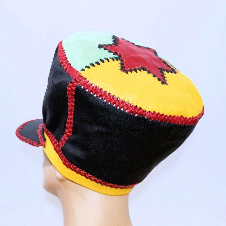 Red Gold Green Leather Hat Rasta Tam Dennis Brown Crown hand image 0