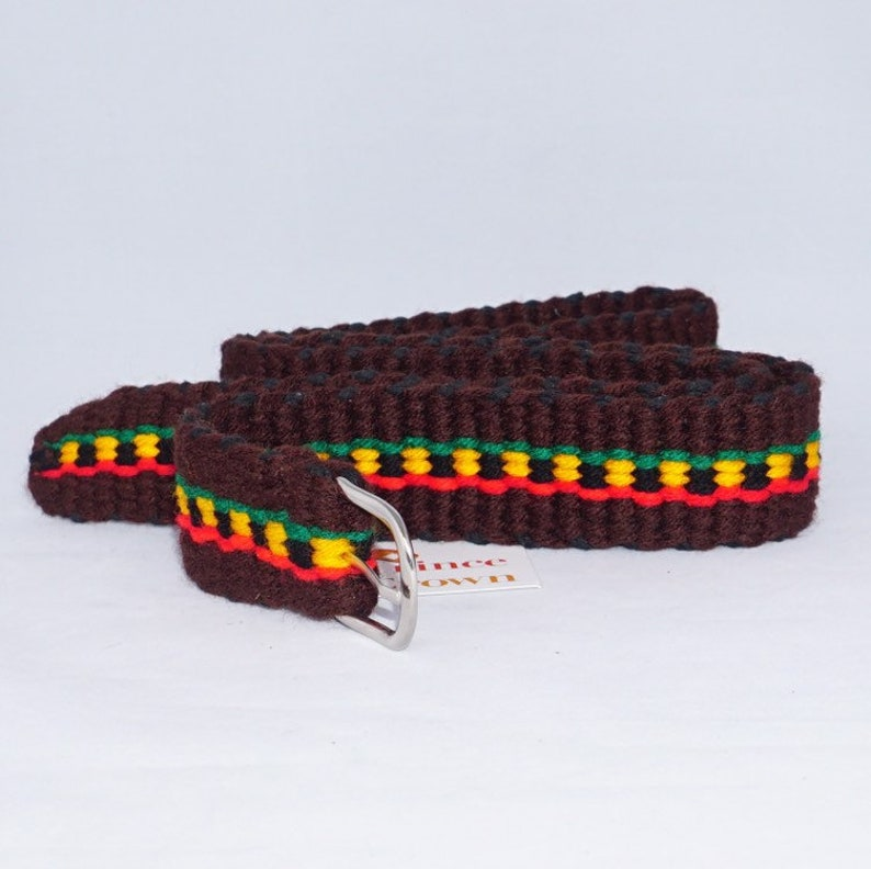 Rasta Belt Red Gold Green Belt Rasta Wool Belt Black Brown image 0