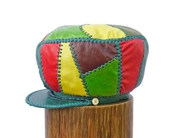 Rasta Leather Hat, Flabba Holt Leather Hat, Rasta Locs Cap, Rasta Dreadlocks Tam, Dreadlock Accessory -  Rim fitted to 58 cm (item 489)