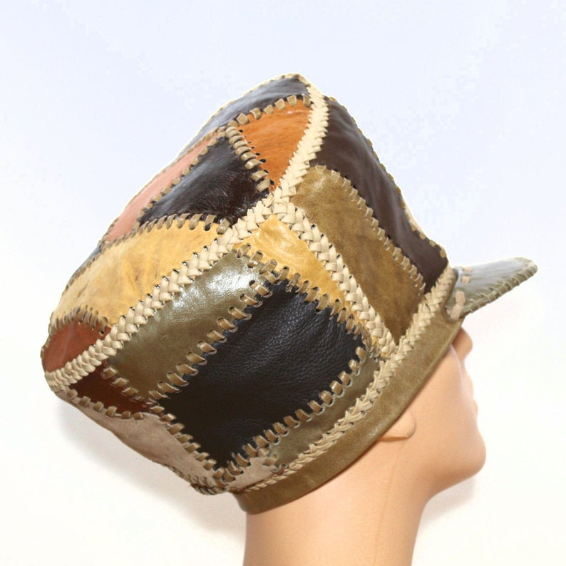 Rasta Leather Tam Leather Crown for Locs Dennis Brown Crown image 0