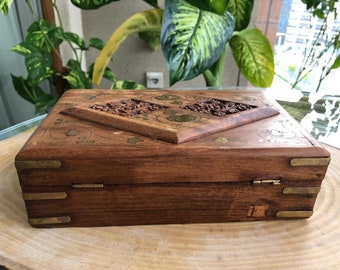 Vintage Hand Made Jewelry Box Antique Wood box with lid