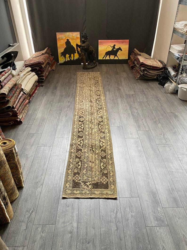 Kitchen Rug 1.8 x 11.5 ft Hallway Rug Patchwork Runner Rug Beige Runner Rug Antique Turkish Rug Vintage Turkish Rug Stair Rug