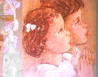 Three Prayers Vintage Wall Art: full page illustrations from vintage children's book, DIY Christian home decor for nursery or child's room