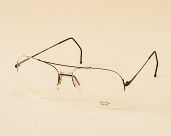 835a981c2d7 Vintage Rive Gauche Double Bar Rimless Aviator Eyeglass Frame - 80 s  Rimless Aviator - Vintage Eyeglasses - Saddle Bridge
