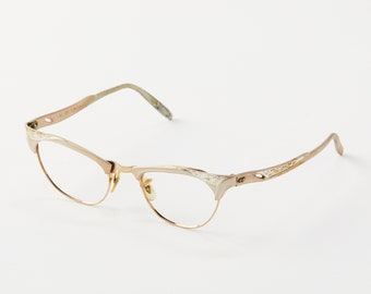 6e01af3907 Vintage Ornate Cat Eye Glasses Frame   Retro Clubmaster Cat Eye   Pin Up  Cateye   Aluminum Frame