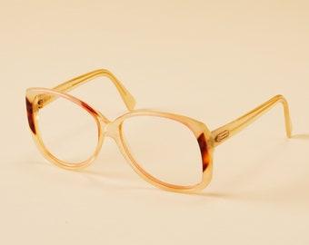 a57ec9e0ab0 Vintage Silhouette Beautiful Cat Eye Eyeglass Frame - Womens Designer  Glasses - Plastic Oversized Glasses - Huge Cat Eye Frame - Ivory