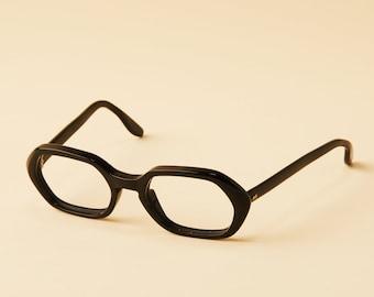 72db215a8eeb Vintage Black Hexagonal Eyeglass Frames - Super Thick Plastic - Vintage -  Made in the USA - 1960s - 1970s