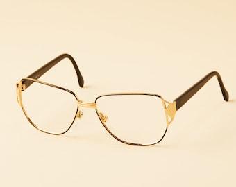 210b3ffbb7 Vintage Italian Designer Eyeglass Frame - 80 s Cazal Style Aviator - Vintage  Eyeglasses - Black with Gold Trim
