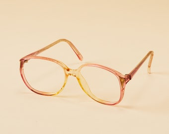 4e4daf808e1 Vintage Oversized Frames Wilshire Designs - Pink Yellow Translucent  Gradient - Round Cat Eye Frame -