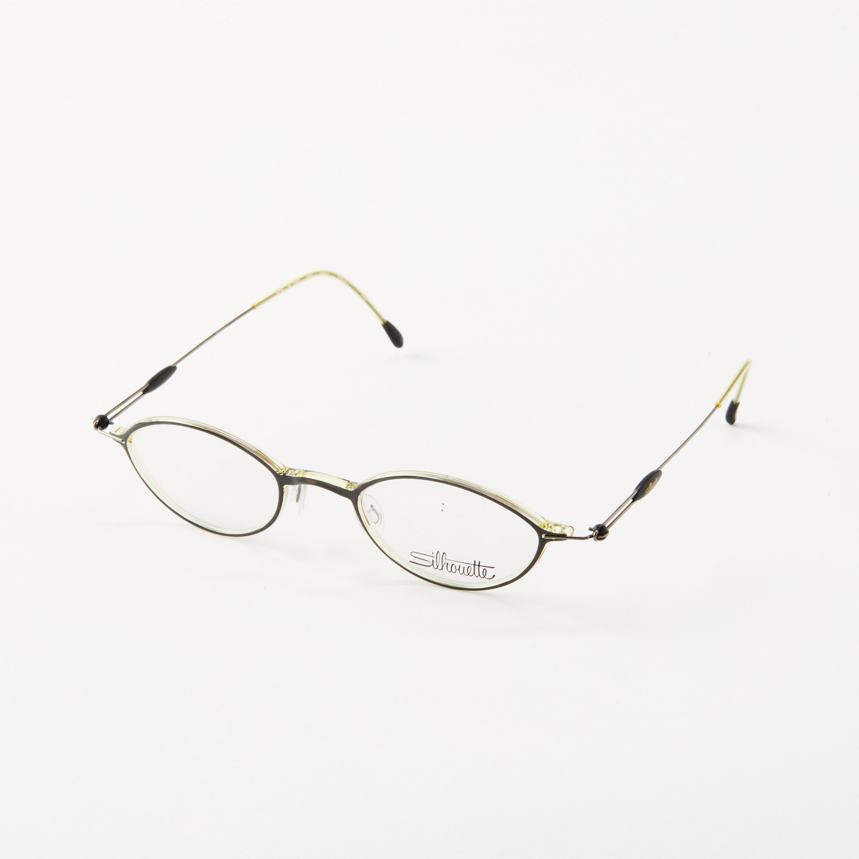 Vintage Silhouette Eye Glasses Clear Frame With Green And Gold