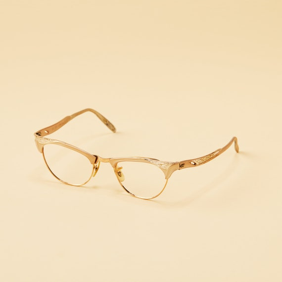 28702e739902 ... Frames  70.00 Vintage Cateye Eyeglasses - M C Optical USA - Decorative  Metal Clubmaster Style - Pin