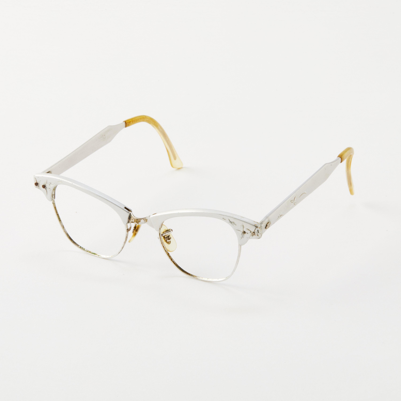 887e1357c0e Vintage Artcraft Metal Club Master Cat Eye Glasses Frame   Retro Cat Eye  Frames   50s 60s Eyeglasses   Silver with Embellishments