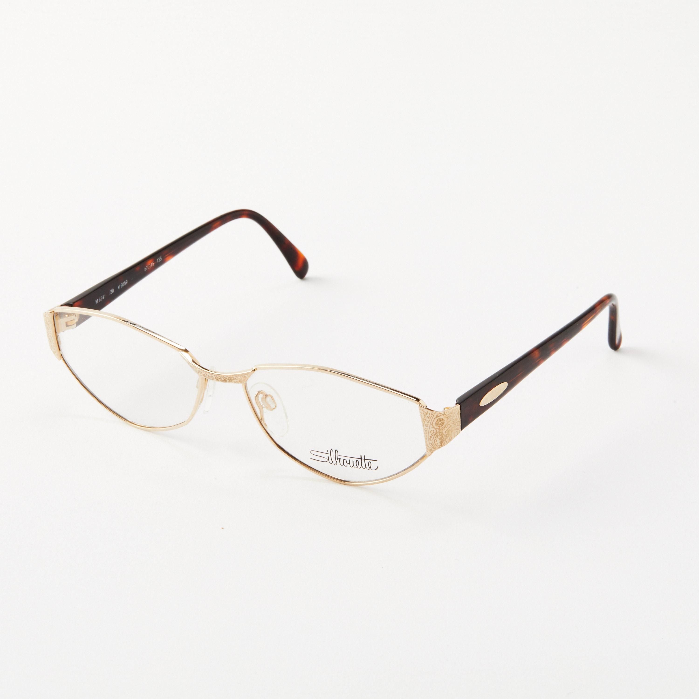 b766ee554c57 Vintage Silhouette Eyeglasses   Angular Cat Eye Gold Frames