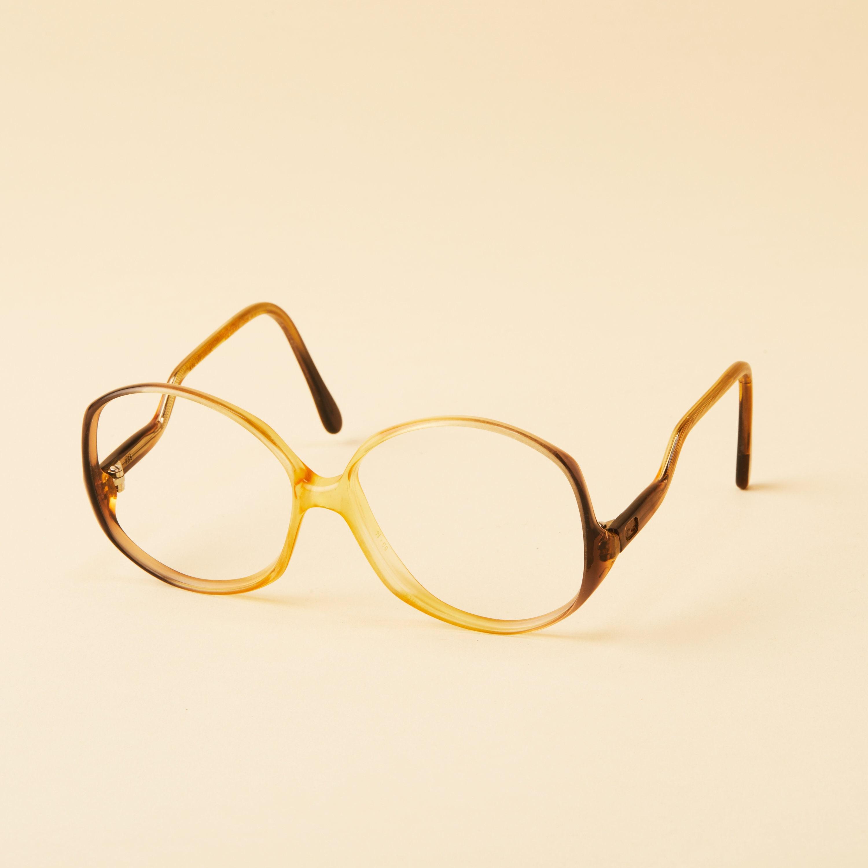 93cb103971 Unique Large Eye Mystique Vintage Glasses Frame Yellow Brown