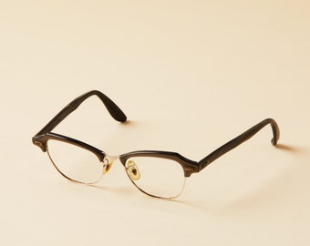 Bausch and Lomb Cat Eye Frames - Clubmaster - Horn Rim - 50s Glasses - Hipster Frames