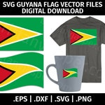 Guyana Flag SVG Vector Clip Art - Cutting Files for Cricut, Silhouette - eps dxf svg png - Digital, Guyana Waving Flag, Template, Stencil