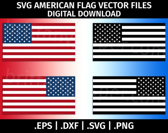 Reverse American Flag SVG - United States of America Flag SVG Vector Clip  Art - Cutting Files for Cricut, Silhouette - eps dxf svg png - USA