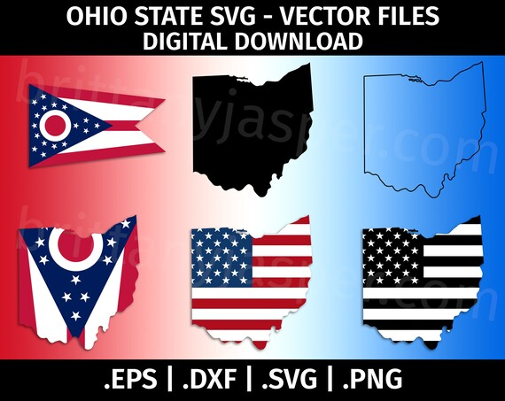 Ohio State Flag Svg Vector Clip Art Cutting Files For Etsy