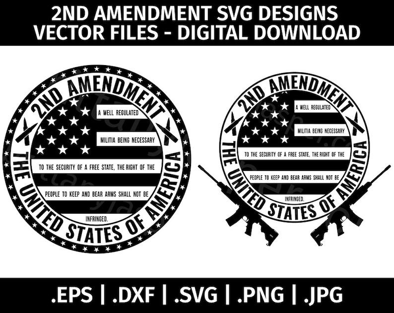 2nd Amendment SVG Design Vector ClipArt  Cut Files for image 0