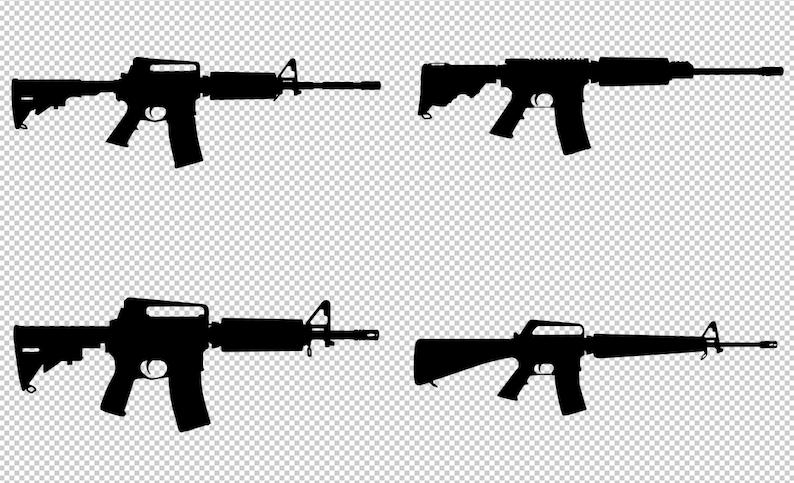 AR-15 SVG Gun Silhouettes Vector Clip Art Cut Files for | Etsy